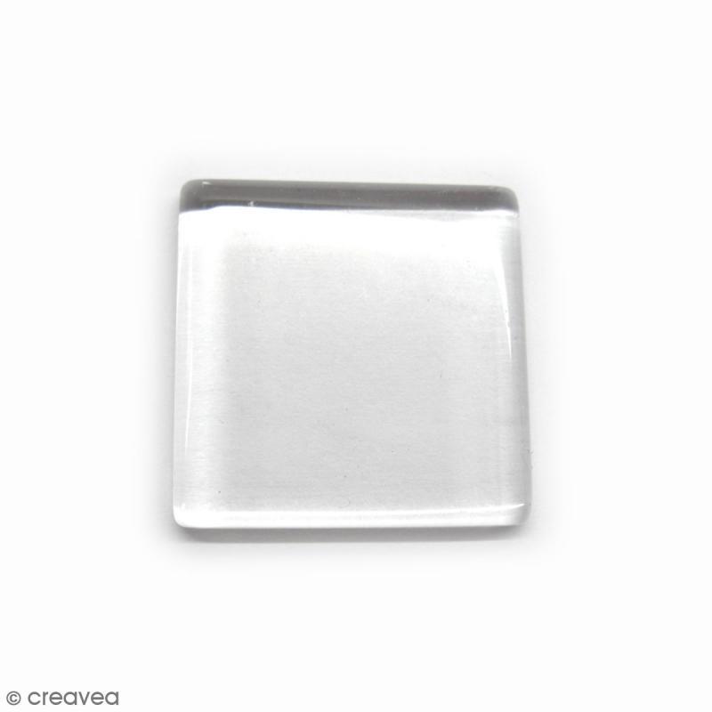 Cabochon en verre Carré transparent - 30 mm - Photo n°1