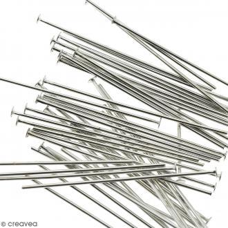 Clous à tête plate - Métal argenté vieilli - 40 mm - 50 pcs
