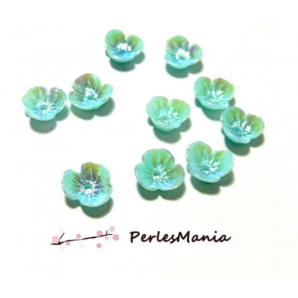 PAX 10 magnifiques cabochons fleur Résine Bleu Irisée avec trou PS11102981 - Photo n°1