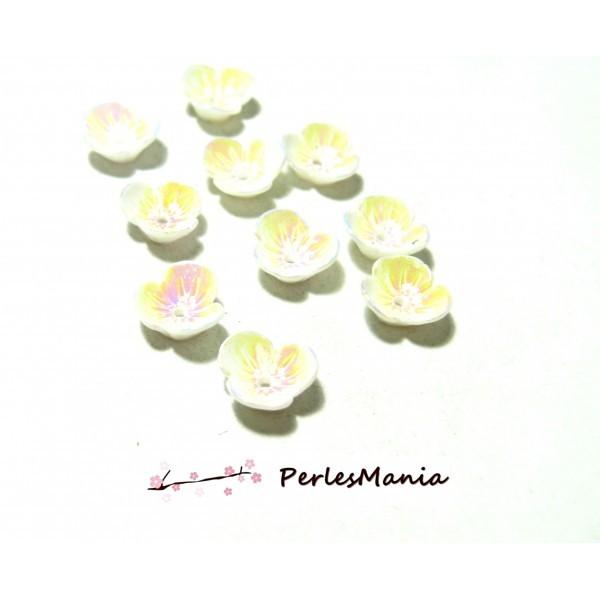 PAX 10 magnifiques cabochons fleur Résine Blanc Irisée avec trou PS11102984 - Photo n°1