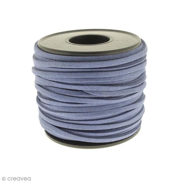 Cordon Suédine - 3 mm - Bleu jean - Au mètre (sur mesure) - Photo n°1