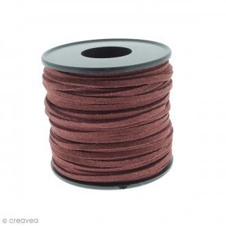 Cordon Suédine - 3 mm - Rouge bordeaux - Au mètre (sur mesure)