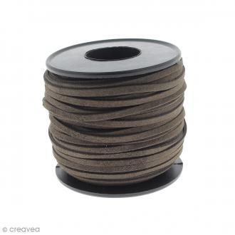 Cordon Suédine - 3 mm - Marron chocolat - Au mètre (sur mesure)