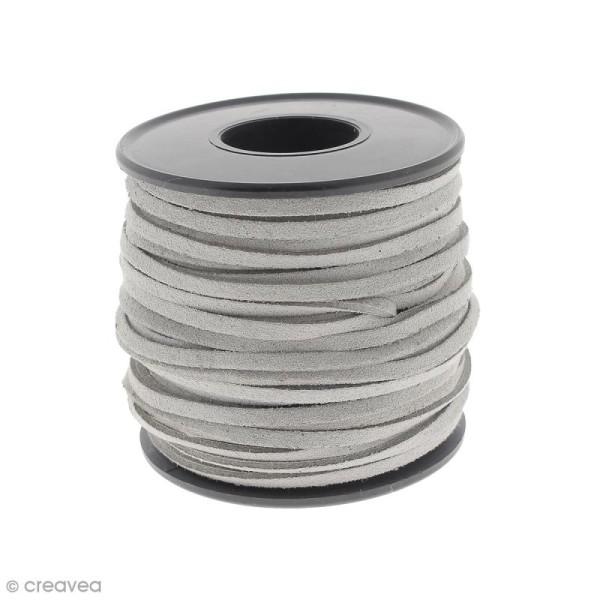 Cordon Suédine - 3 mm - Gris clair - Au mètre (sur mesure) - Photo n°1