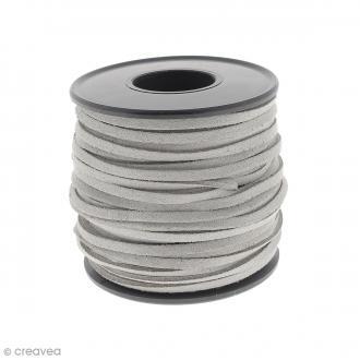 Cordon Suédine - 3 mm - Gris clair - Au mètre (sur mesure)