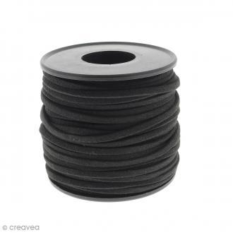 Cordon Suédine - 3 mm - Noir - Au mètre (sur mesure)