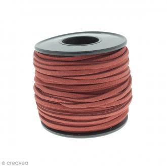 Cordon Suédine - 3 mm - Rouge - Au mètre (sur mesure)