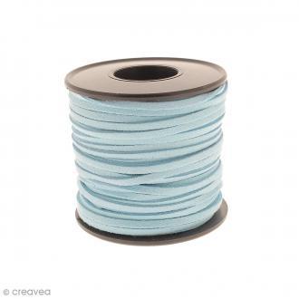 Cordon Suédine - 3 mm - Bleu turquoise - Au mètre (sur mesure)