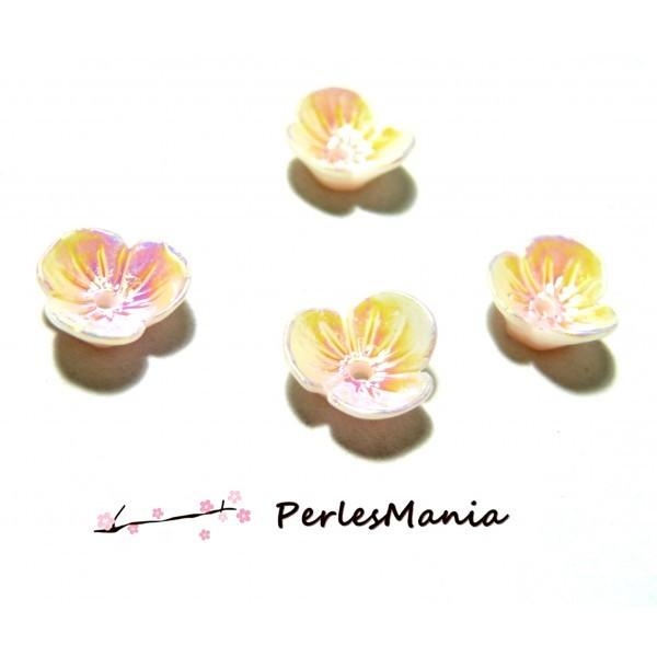 PAX 10 magnifiques cabochons fleur Résine Peche avec trou PS11102982 - Photo n°1