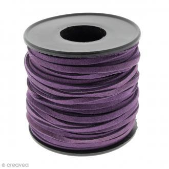 Cordon Suédine - 3 mm - Violet foncé - Au mètre (sur mesure)
