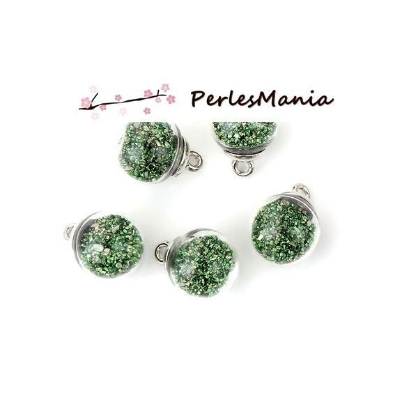 PAX 10 Pendentifs GLOBES BULLES en Verre Pierre Vert socle Argent S11102941 - Photo n°1