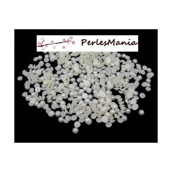 PAX 500 cabochons demi perle nacré fond plat Crème Nail Art 6mm PS1105414 - Photo n°1