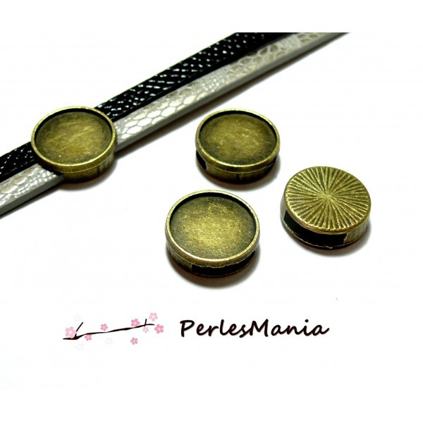 H1134104 PAX 20 passants Slides pour cabochon 14mm métal couleur Bronze pour cordons lanieres - Photo n°1