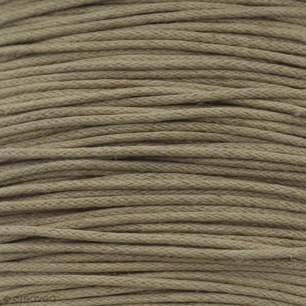 Fil de coton ciré - Marron café - 1 mm - 100 m - Photo n°1