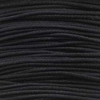 Fil de coton ciré - Noir - 1 mm - 100 m