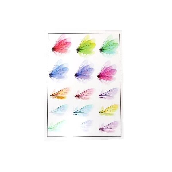 PS110109172 PAX de 1 Planche imprimées d'ailes de papillons pour bijoux résine Multicolores - Photo n°1