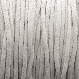 Fil de coton ciré - Blanc crème - 2 mm - 100 m