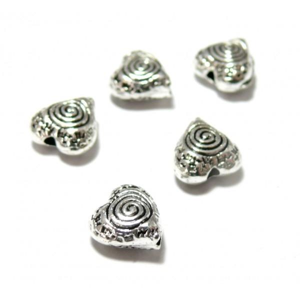 PS110125701 PAX 25 perles intercalaires Coeur Spirale 9mm metal couleur Argent Antique - Photo n°1