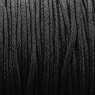 Fil de coton ciré - Noir - 2 mm - 100 m