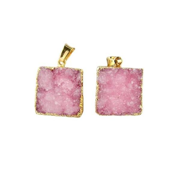 1pc Cristal Rose Carré d'Or, Druzy de Glace Quartz Agate de pierre Naturelle Plaqué Focal Pendentif - Photo n°1