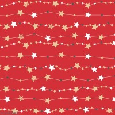 Serviette en papier 33 x 33 cm - Guirlande d'étoiles sur fond rouge - 20 pcs