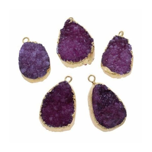 1pc Fuchsia Rose Cristal d'Or en forme de Larme Druzy de Glace Quartz Agate de pierre Naturelle Plaq - Photo n°1