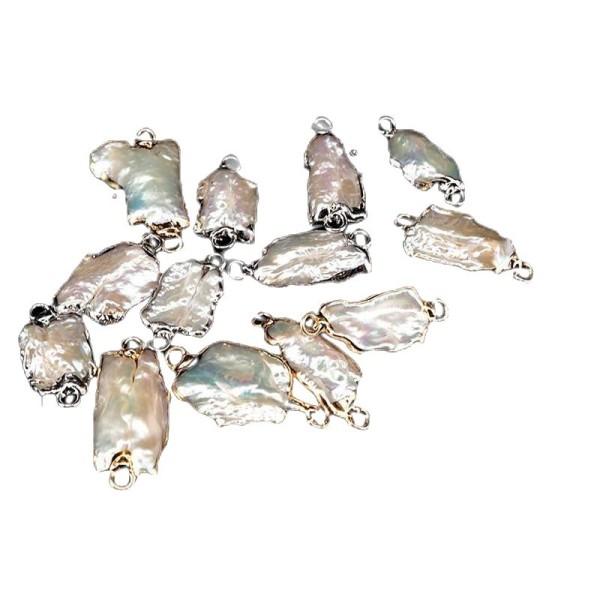 1pc Iris Or Blanc Rectangle d'eau Douce de Perle De Nacre, Coquillage, Coquille Naturelle Plaqué Foc - Photo n°1