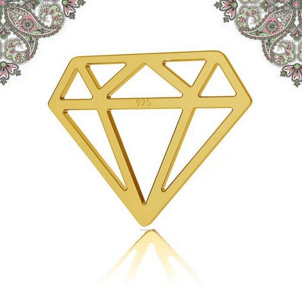 Argent 925 Plaquage Or-Breloque intercalaire diamant 12,8*15,8 mm pour chaines et bracelets - Photo n°1
