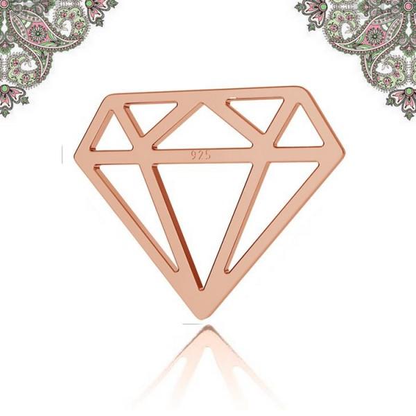 Argent 925 Plaquage Or Rose -Breloque intercalaire diamant 12,8*15,8 mm - Photo n°1