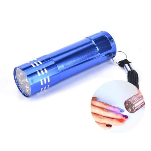 1pc Bleu 9 Led en Aluminium Mini lampe-Torche Uv Lampe Sécheuse Pour l'Art d'Ongle en Gel, Torche à - Photo n°1