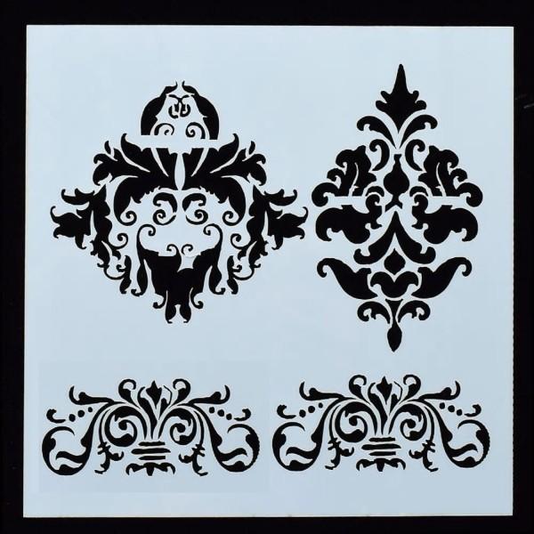 POCHOIR PLASTIQUE 13*13cm : motif antique (07) - Photo n°1