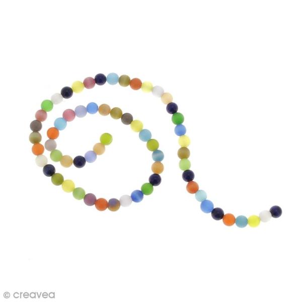Perles oeil de chat - Multicolore - 6 mm - 64 perles - Photo n°1