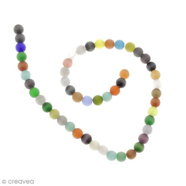 Perles oeil de chat - Multicolore - 8 mm - 50 perles - Photo n°1