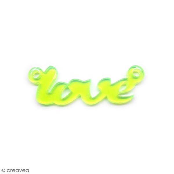 Breloque intercalaire - Love - Jaune fluo - 42 x 14 mm - Photo n°1