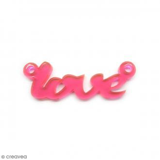 Breloque intercalaire - Love - Rose fluo - 42 x 14 mm