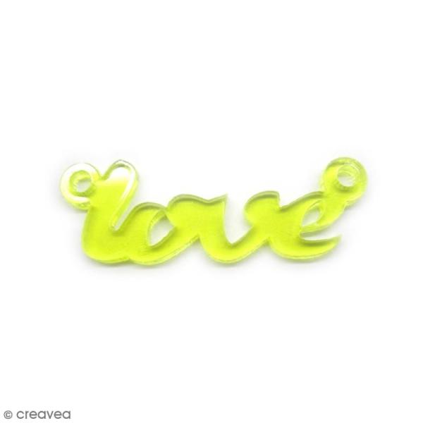 Breloque intercalaire - Love - Jaune - 42 x 14 mm - Photo n°1