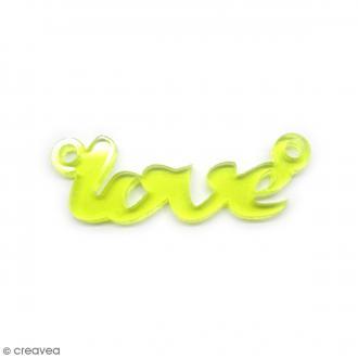 Breloque intercalaire - Love - Jaune - 42 x 14 mm