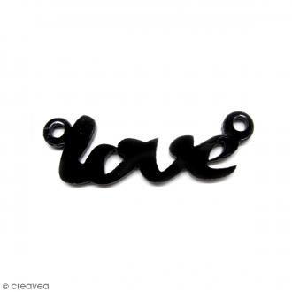 Breloque intercalaire - Love - Noir - 42 x 14 mm