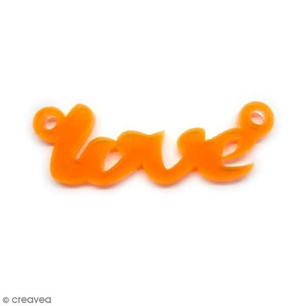 Breloque intercalaire - Love - Orange - 42 x 14 mm - Photo n°1