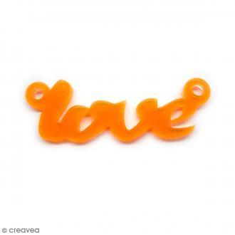 Breloque intercalaire - Love - Orange - 42 x 14 mm