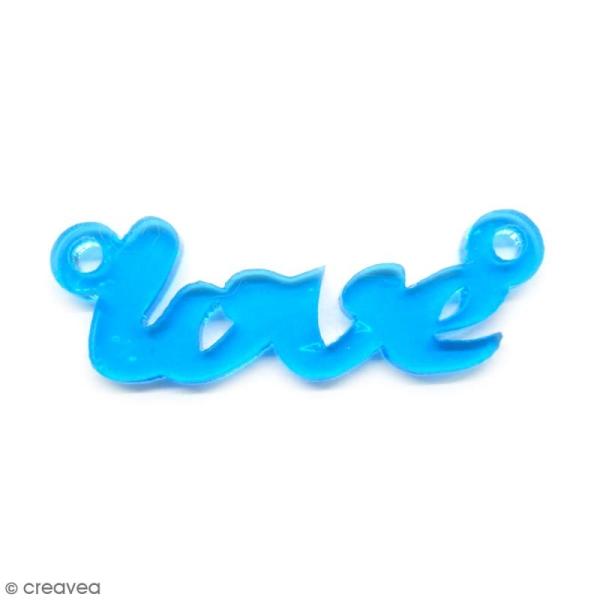 Breloque intercalaire - Love - Bleu turquoise - 42 x 14 mm - Photo n°1