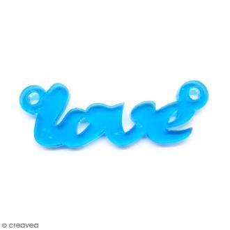 Breloque intercalaire - Love - Bleu turquoise - 42 x 14 mm