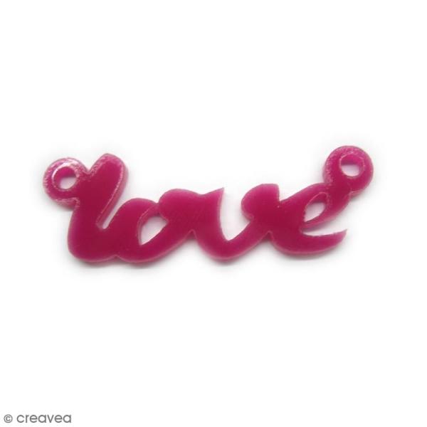 Breloque intercalaire - Love - Violet - 42 x 14 mm - Photo n°1