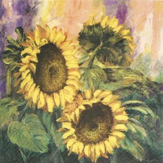 Serviette en papier Fleur Peinture de tournesols