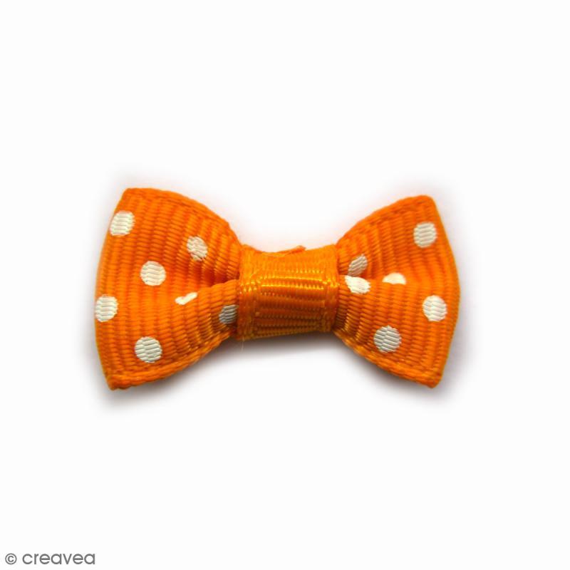 Noeuds Orange à pois blancs - 28 mm - 4 pcs - Photo n°1