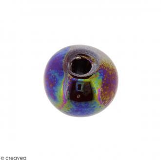 Perle ronde aplatie en céramique - Marron irisé - 14 x 19 mm