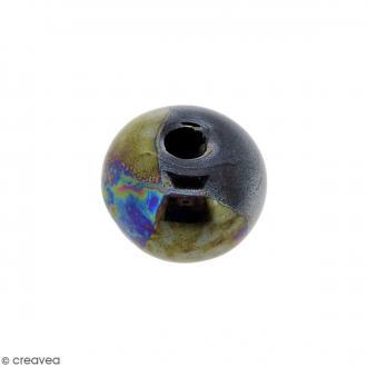 Perle ronde aplatie en céramique - Noir irisé - 14 x 19 mm
