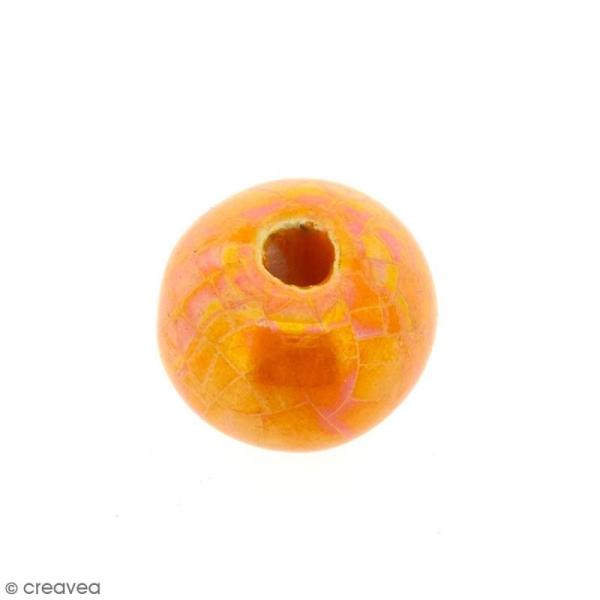 Perle aplatie en céramique - Orange irisé - 16 mm - Photo n°1