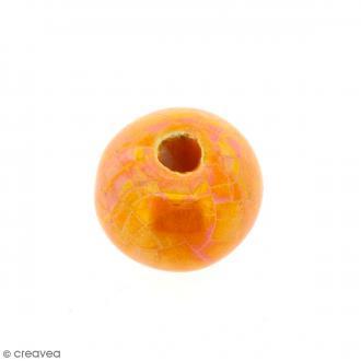 Perle aplatie en céramique - Orange irisé - 16 mm