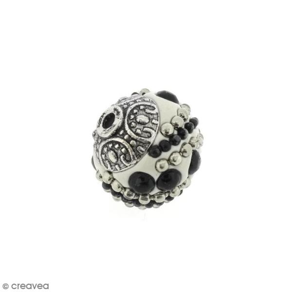 Perle indonésienne - Blanc et strass - 15 mm - Photo n°1